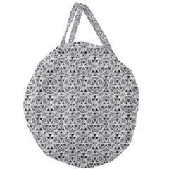 Hand Drawing Tribal Black White Giant Round Zipper Tote by Cveti