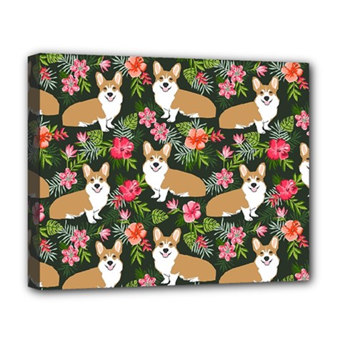 Welsh Corgi Hawaiian Pattern Florals Tropical Summer Dog Deluxe Canvas 20  X 16   by Celenk