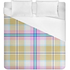 Pink And Yellow Plaid Duvet Cover (king Size) by allthingseveryone