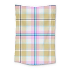 Pink And Yellow Plaid Small Tapestry by allthingseveryone