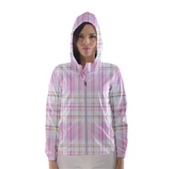 Pink Pastel Plaid Hooded Wind Breaker (women) by allthingseveryone