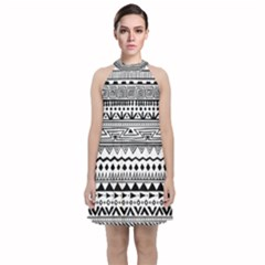 Black And White Geometric Pattern Velvet Halter Neckline Dress  by SageExpress