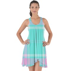 Blue And Pink Pastel Plaid Show Some Back Chiffon Dress by allthingseveryone