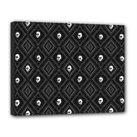 Funny Little Skull Pattern, B&w Canvas 14  X 11  by MoreColorsinLife