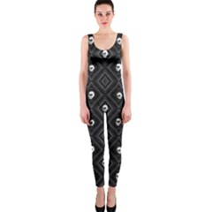 Funny Little Skull Pattern, B&w Onepiece Catsuit by MoreColorsinLife