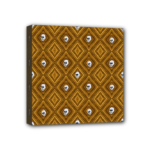 Funny Little Skull Pattern, Golden Mini Canvas 4  X 4  by MoreColorsinLife