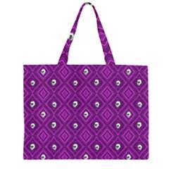 Funny Little Skull Pattern, Purple Zipper Large Tote Bag by MoreColorsinLife