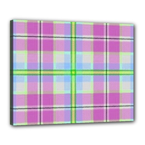 Pink And Blue Plaid Canvas 20  X 16  by allthingseveryone