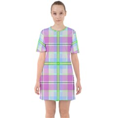 Pink And Blue Plaid Sixties Short Sleeve Mini Dress by allthingseveryone