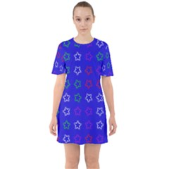 Spray Stars Pattern E Sixties Short Sleeve Mini Dress
