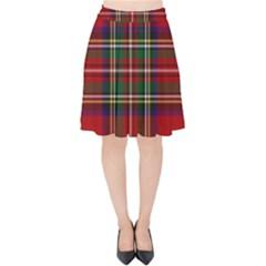 Red Tartan Plaid Velvet High Waist Skirt by allthingseveryone