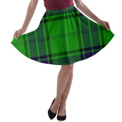 Green And Blue Plaid A Line Skater Skirt by allthingseveryone