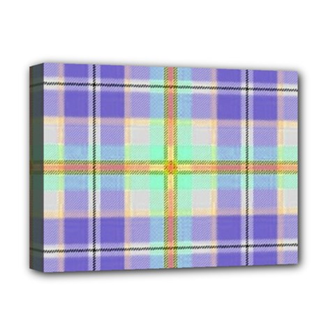 Blue And Yellow Plaid Deluxe Canvas 16  X 12   by allthingseveryone