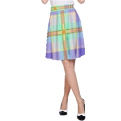 Blue And Yellow Plaid A Line Skirt by allthingseveryone