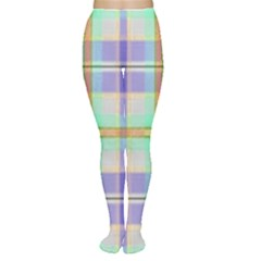 Blue And Yellow Plaid Women s Tights by allthingseveryone