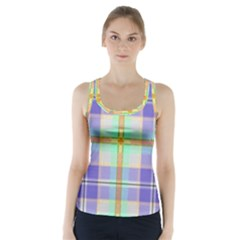 Blue And Yellow Plaid Racer Back Sports Top