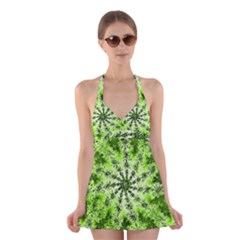 Lime Green Starburst Fractal Halter Dress Swimsuit