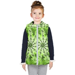 Lime Green Starburst Fractal Kid s Puffer Vest