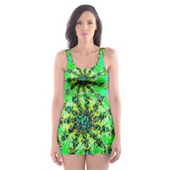 Green Psychedelic Starburst Fractal Skater Dress Swimsuit by allthingseveryone