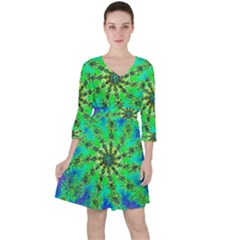 Green Psychedelic Starburst Fractal Ruffle Dress
