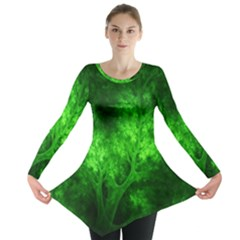 Artsy Bright Green Trees Long Sleeve Tunic  by allthingseveryone