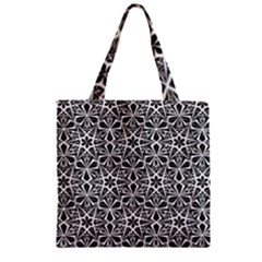Star With Twelve Rays Pattern Black White Zipper Grocery Tote Bag by Cveti