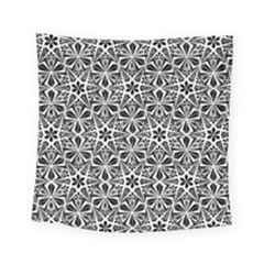 Star With Twelve Rays Pattern Black White Square Tapestry (small) by Cveti