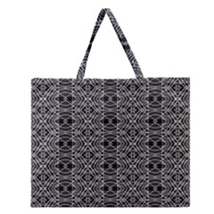Black And White Ethnic Pattern Zipper Large Tote Bag by dflcprints