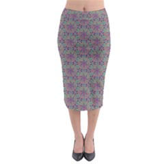 Flower Kaleidoscope Hand Drawing 2 Midi Pencil Skirt by Cveti