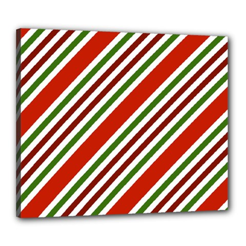 Christmas Color Stripes Canvas 24  X 20  by Celenk