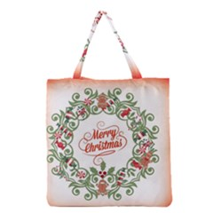 Merry Christmas Wreath Grocery Tote Bag by Celenk
