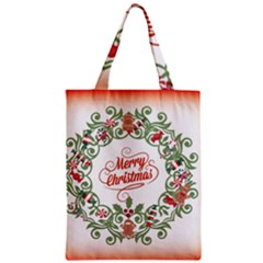 Merry Christmas Wreath Zipper Classic Tote Bag by Celenk