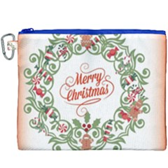 Merry Christmas Wreath Canvas Cosmetic Bag (xxxl) by Celenk