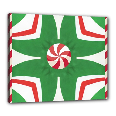 Candy Cane Kaleidoscope Canvas 24  X 20  by Celenk