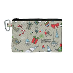 Beautiful Design Christmas Seamless Pattern Canvas Cosmetic Bag (medium) by Celenk
