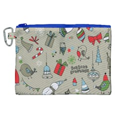 Beautiful Design Christmas Seamless Pattern Canvas Cosmetic Bag (xl) by Celenk
