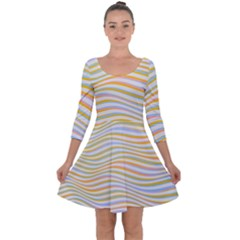 Art Abstract Colorful Colors Quarter Sleeve Skater Dress