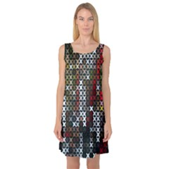 Christmas Cross Stitch Background Sleeveless Satin Nightdress