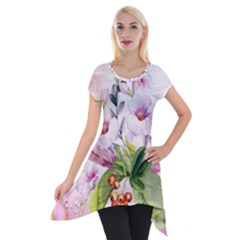 Wonderful Flowers, Soft Colors, Watercolor Short Sleeve Side Drop Tunic by FantasyWorld7