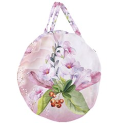 Wonderful Flowers, Soft Colors, Watercolor Giant Round Zipper Tote by FantasyWorld7