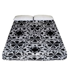 Star Crystal Black White 1 And 2 Fitted Sheet (queen Size) by Cveti