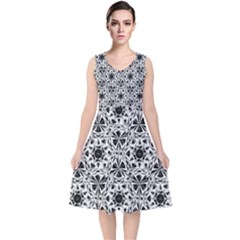 Star Crystal Black White 1 And 2 V Neck Midi Sleeveless Dress