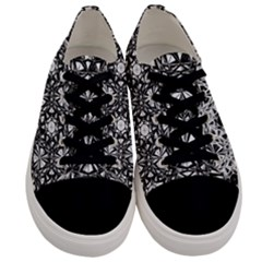 Star Crystal Black White 1 And 2 Men s Low Top Canvas Sneakers