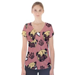 Happy Pugs Short Sleeve Front Detail Top