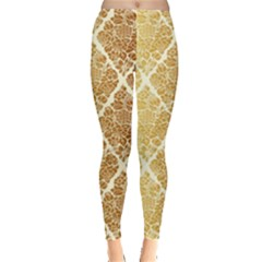 Vintage,gold,damask,floral,pattern,elegant,chic,beautiful,victorian,modern,trendy Leggings  by 8fugoso