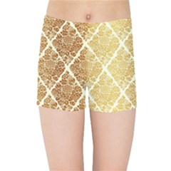 Vintage,gold,damask,floral,pattern,elegant,chic,beautiful,victorian,modern,trendy Kids Sports Shorts by 8fugoso