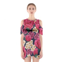 Pink Roses And Daisies Shoulder Cutout One Piece