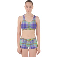 Blue And Yellow Plaid Work It Out Sports Bra Set
