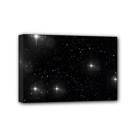 Starry Galaxy Night Black And White Stars Mini Canvas 6  X 4  by yoursparklingshop