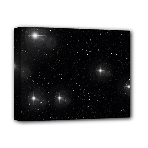 Starry Galaxy Night Black And White Stars Deluxe Canvas 14  X 11  by yoursparklingshop